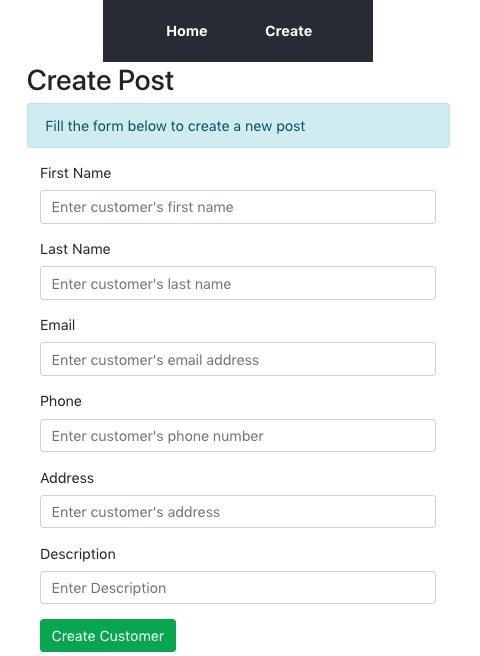 Create customer page