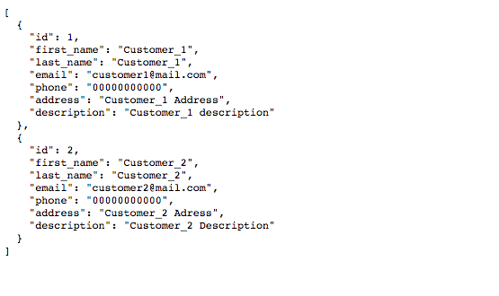 Customer list shown by json-server