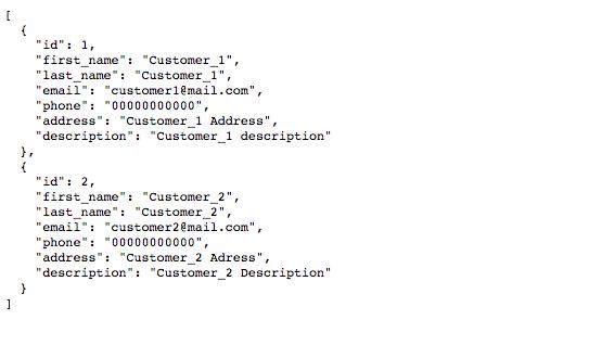 Customer list shown by json-server