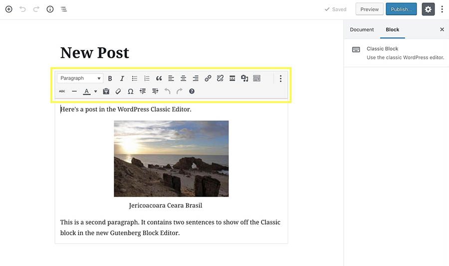 A Classic block in the Block Editor with the TinyMCE toolbar.