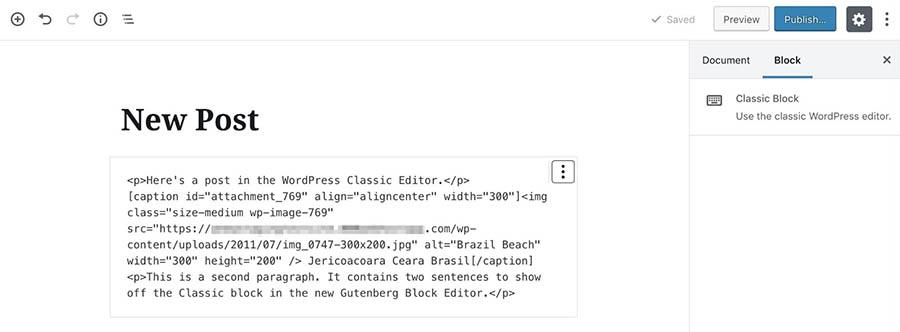 Editing a Classic block in HTML.