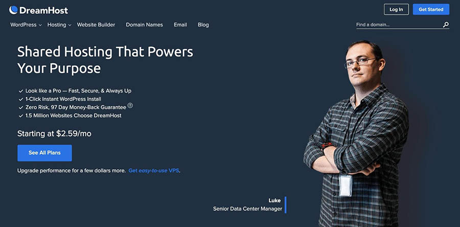 DreamHost's Shared WordPress Hosting page.