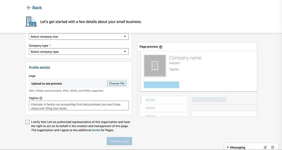 Adding a logo and tagline to a new LinkedIn company page.
