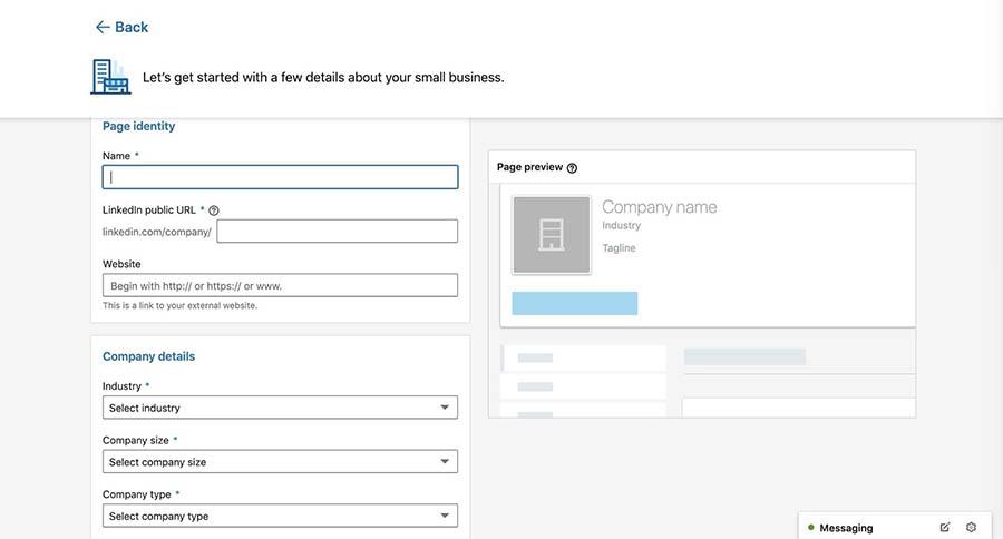 Adding company details to a new LinkedIn company page.