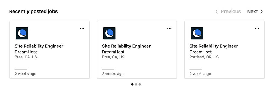 Job postings on DreamHost's LinkedIn company page.