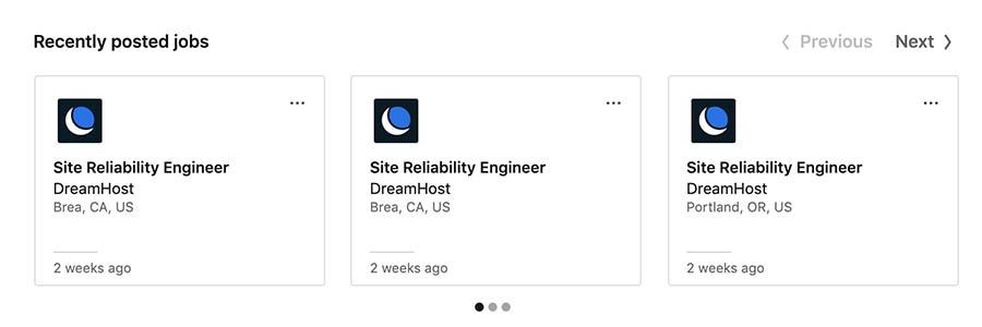 Job postings on DreamHost's LinkedIn company page.