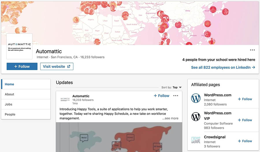 The showcase pages on Automattic's LinkedIn company page.