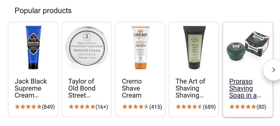 Google search result for 'shaving cream'.