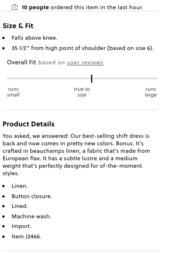 J. Crew product description with bullet points.