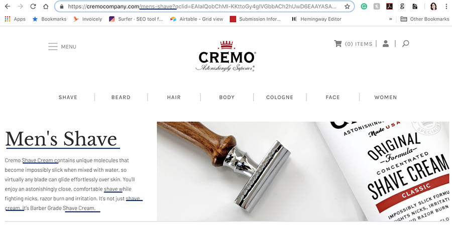 Cremo product descriptions focused on keywords.