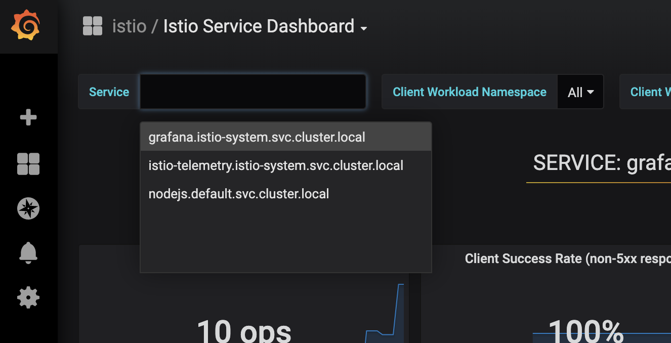 Service Dropdown in Istio Service Dash