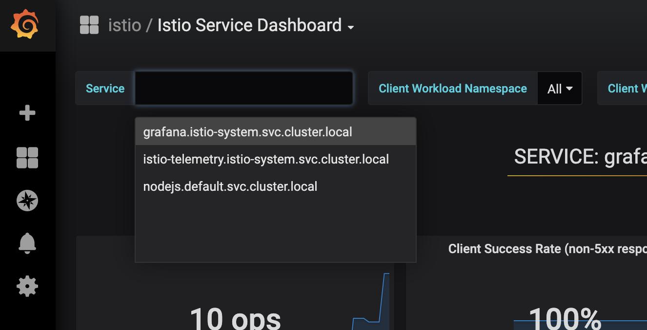 Service Dropdown in Istio Service Dash