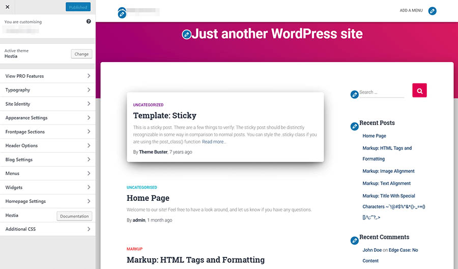 The WordPress Customizer.