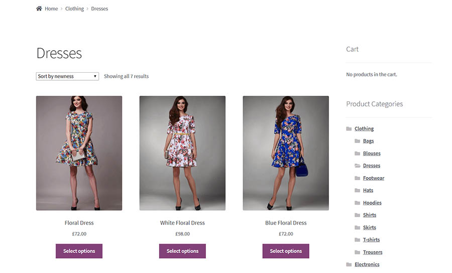 An example of an e-commerce theme.