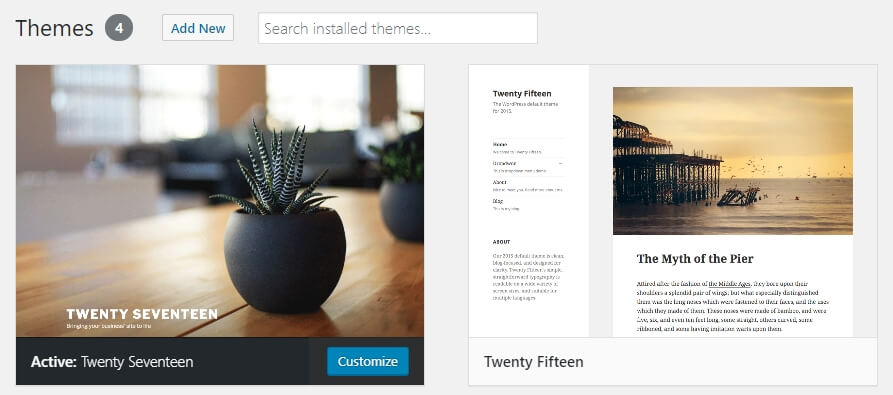 Installing a WordPress theme.