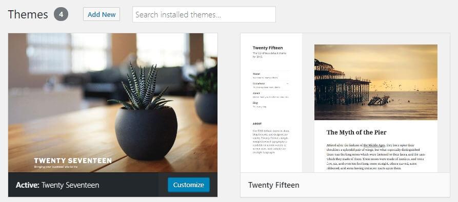 Installing a WordPress theme.