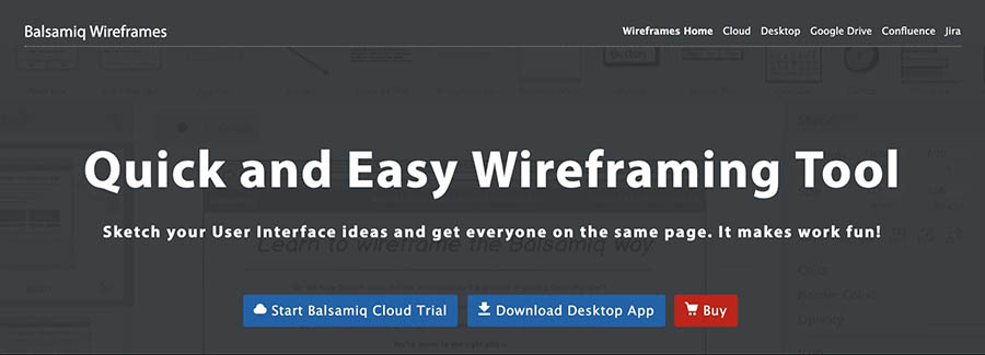 The Balsamiq wireframing platform.