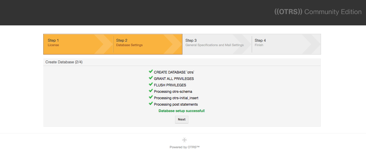 Database setup successful