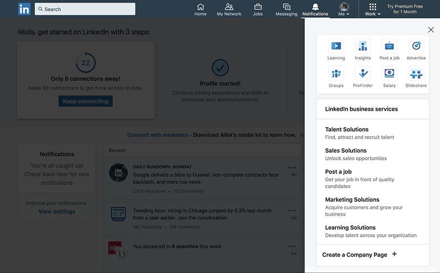 Creating a new Company Page on LinkedIn.