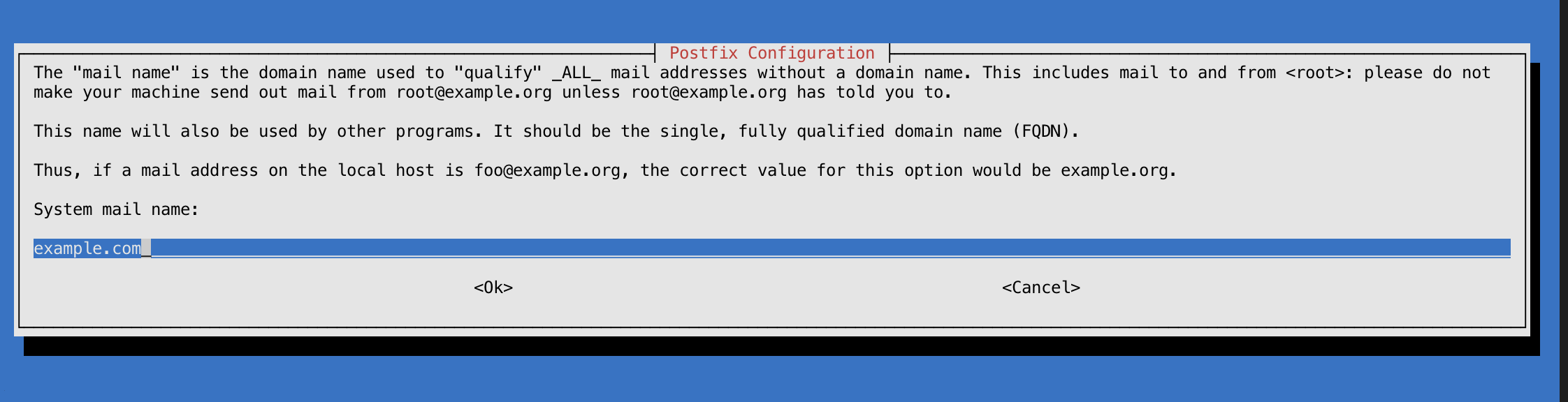System Mail Name Selection