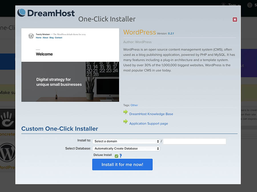 The DreamHost one-click WordPress installer.