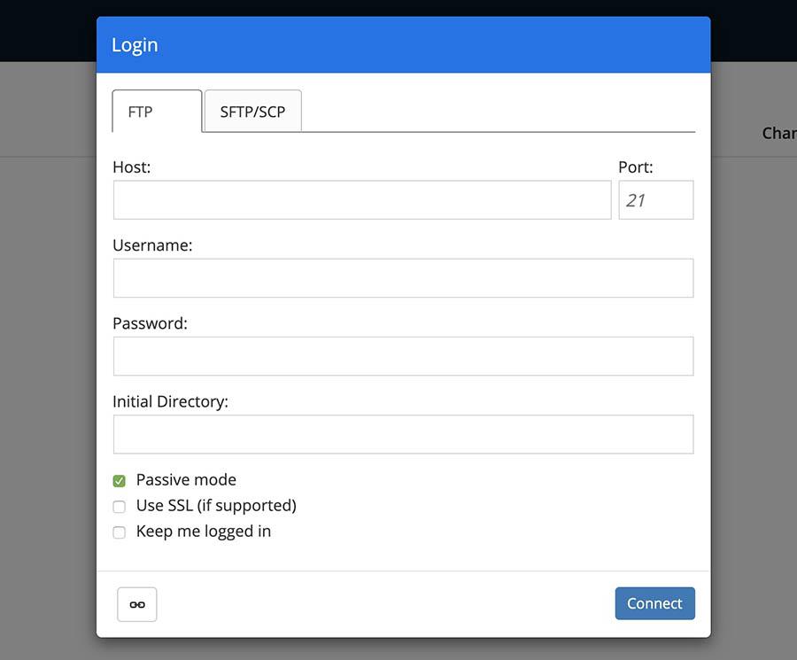 DreamHost's WebFTP client.