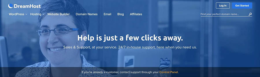DreamHost's 24/7 support page.