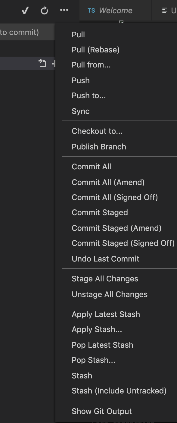 Git dropdown menu with version control actions