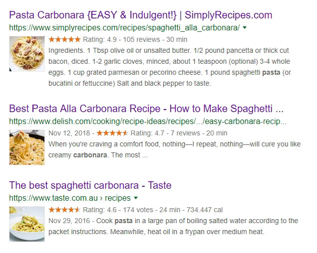 Three examples of carbonara recipes with rich snippets.