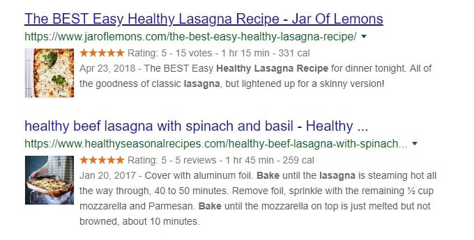 Two healthy lasagna recipes with rich snippets.