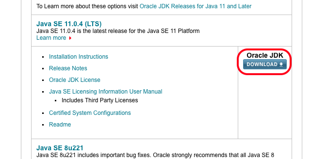 a screenshot showing the location of the Oracle JDK download button