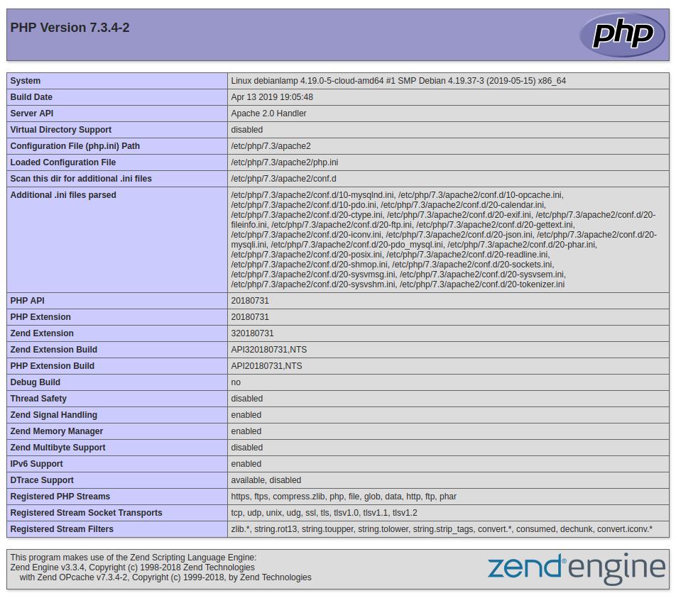Debian 10 default PHP info