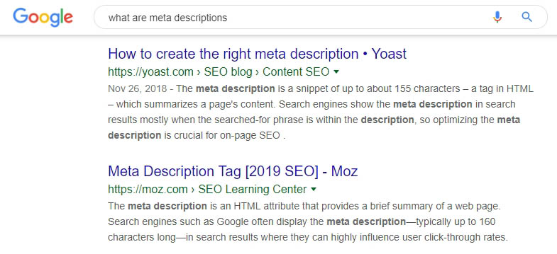 Two examples of meta descriptions.