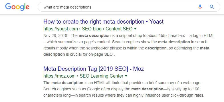 Two examples of meta descriptions.