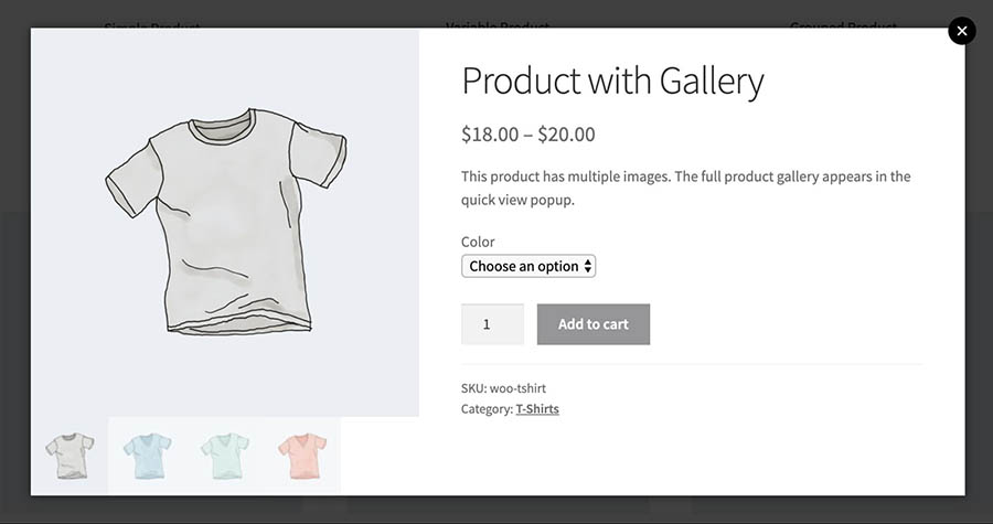 A completed quick view display created with WooCommerce Quick View Pro.