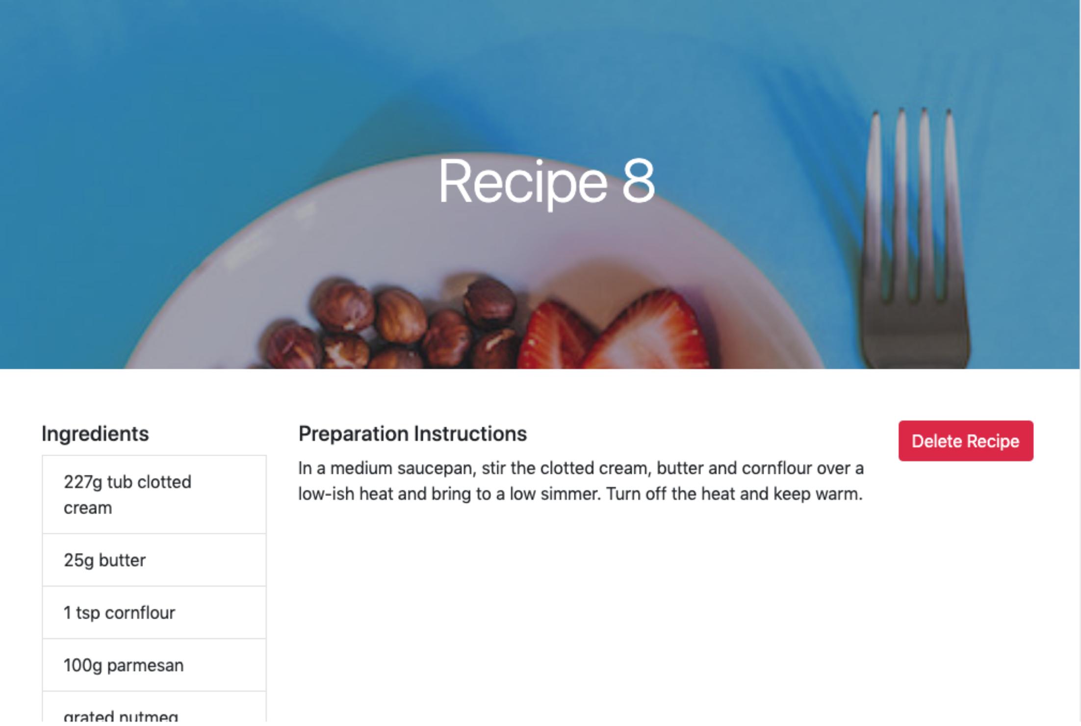 Single Recipe Page