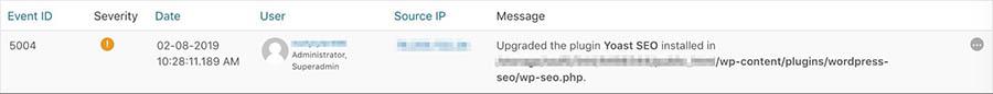 A plugin update in WP Security Audit Log.