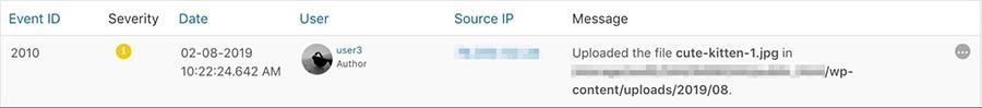 A file upload event in WP Security Audit Log.