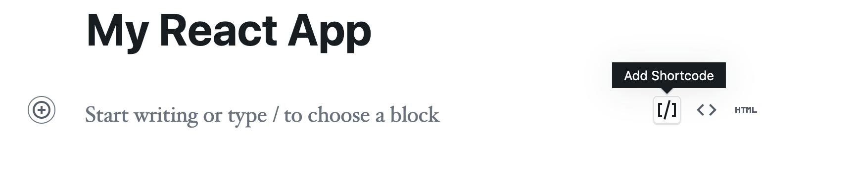 Adding a Shortcode Block