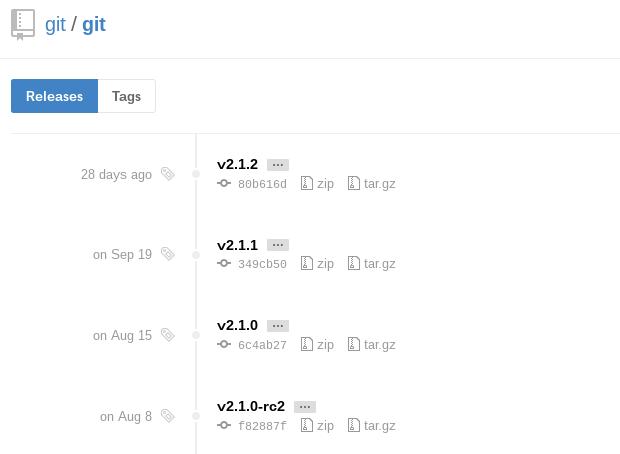 Git Releases on GitHub