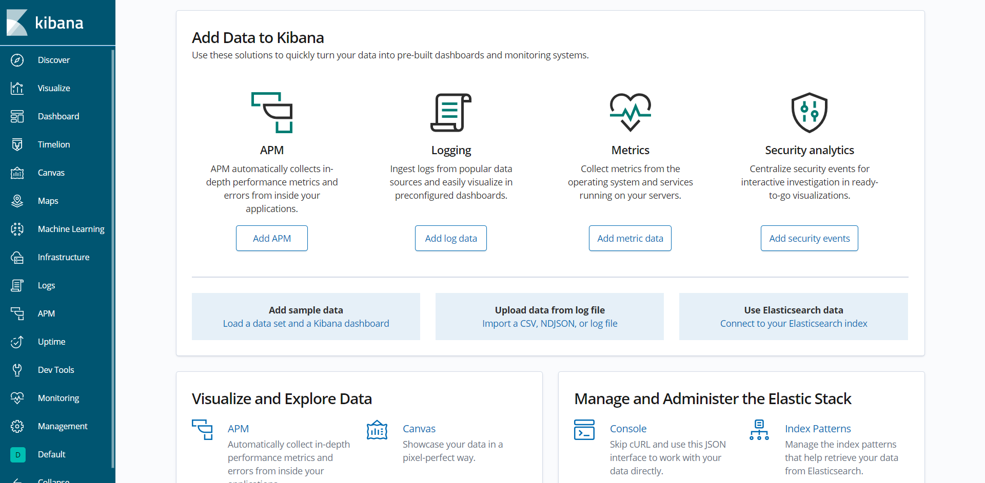Kibana - Default Welcome Page