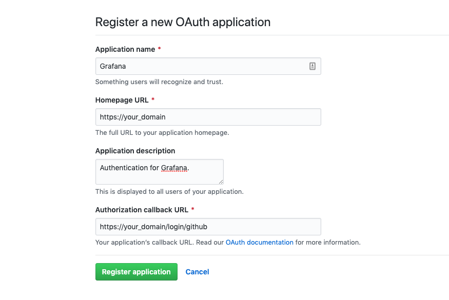 Registro do aplicativo OAuth do GitHub