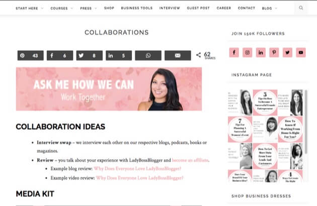 LadyBossBlogger's media kit page featuring collaboration information