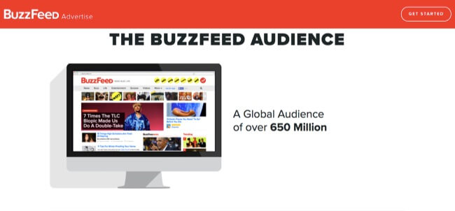 BuzzFeed's advertiser information page featuring audience statistics.