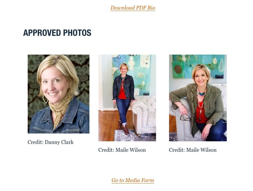 A downloadable biography and images in Brene Brown's media kit.