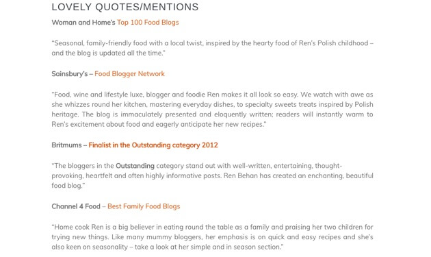 Testimonials from Ren Behan's media kit page.