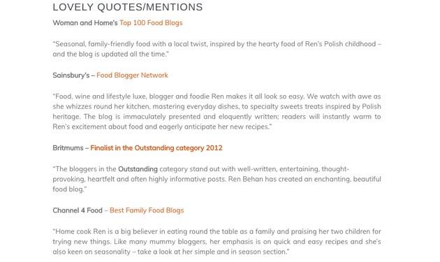 Testimonials from Ren Behan's media kit page.