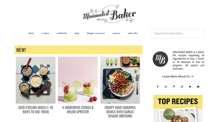 The Minimalist Baker home page.
