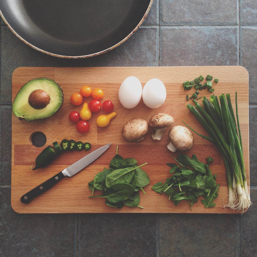 Cutting board with fresh ingredients.