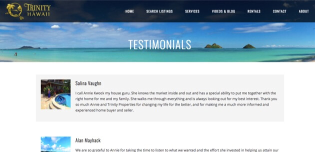 Testimonials for Trinity Hawaii.